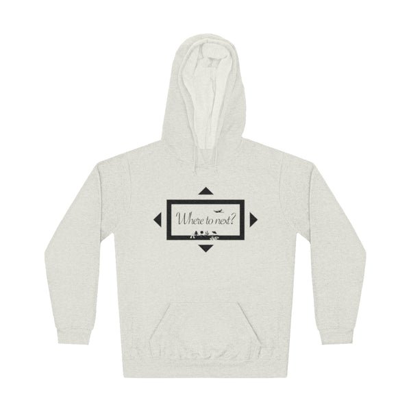 Where to next? Unisex hoodie