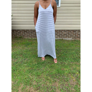 Relaxed Flow Striped Cami Adjustable Strap | Grey | Up to 3X - Noir Envy