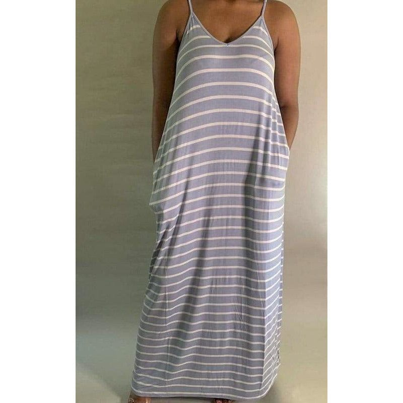 Relaxed Flow Striped Cami Adjustable Strap | Blue | Up to 3X - Noir Envy