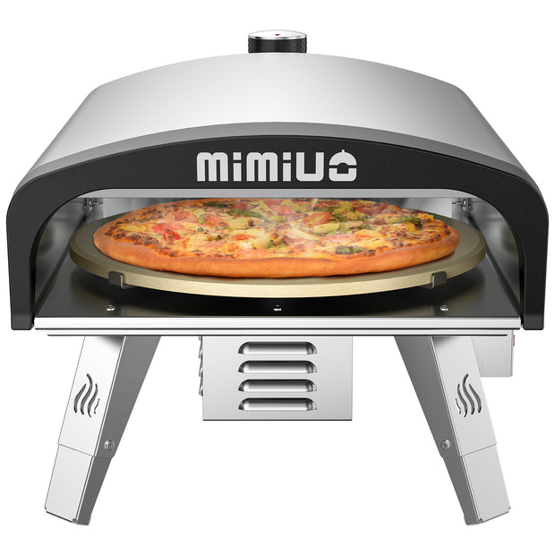 "Mimiuo Gas Pizza Oven with 13"" Pizza Stone & Foldable Pizza Peel - Stainless Steel Gas Pizza Grilling Kit with Automatic Rotation System (Tisserie G-Oven Series) - Global Patent"