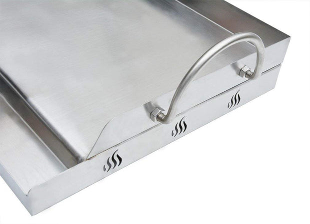 "Universal Stainless Steel Rectangular Griddle for Gas BBQ Grills, 23"" x 16"""
