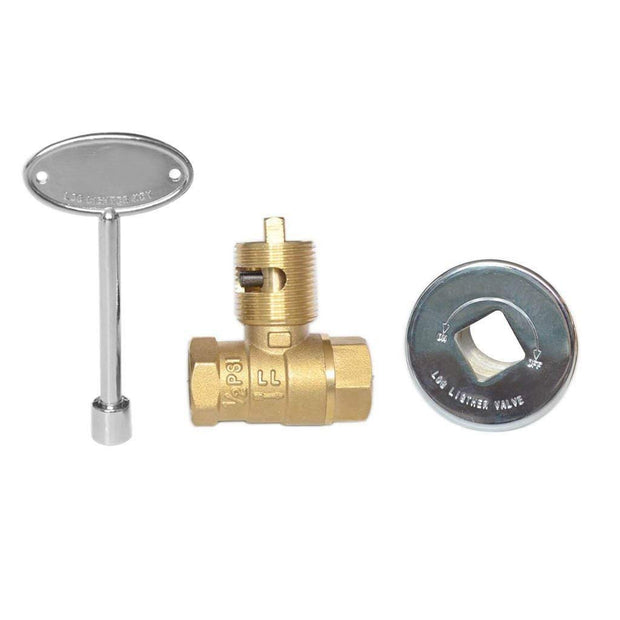 1/2 Inch Straight Quarter-Turn Ball Shut Off Valve Kit with Chrome Floor Plate and 3-Inch Key