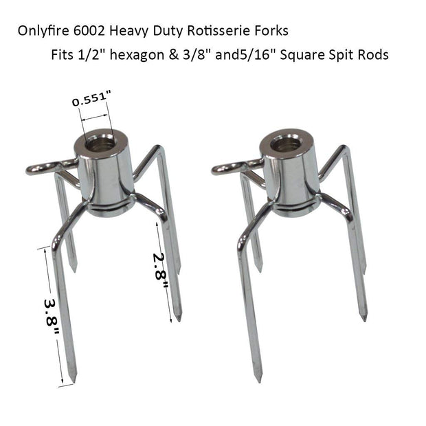Rotisserie Meat Forks for Grills-Fits 1/2-Inch Hexagon & 3/8-Inch and 5/16-Inch Square Spit Rods