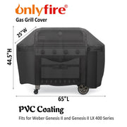 "Onlyfire 65-inch Grill Cover Fits for Weber Genesis II and Genesis II LX 400 Series Gas Grills Char-Broil Nexgrill Brinkmann and More(65""L25""W44.5""H)"