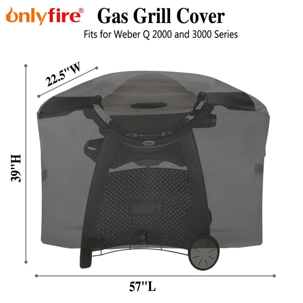 "Onlyfire 57-inch BBQ Gas Grill Cover Fits for Weber Q 2000 and 3000 Series Gas Grill Char-Broil Nexgrill Brinkmann and More(57""L22.5""W39""H)"