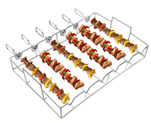 only fire Barbecue Shish Kabob Set Stainless Steel Skewer and Grill Rack Set for Cooking on Gas or Charcoal Grill, 6pcs