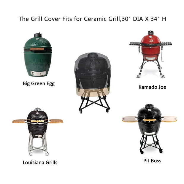 "Kamado Grill Cover Fits for Large Big Green Egg,Kamado Joe Classic and Stand-Alone,Large Grill Dome,Pit Boss K22,Louisiana K22,Coyote The Asado Cooker and Other,30"" Dia X 24"" H"
