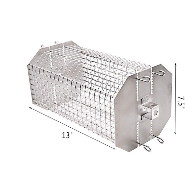 Universal Octagonal Tumble & Flat Rotisserie Grill Basket Fits for Any Grill