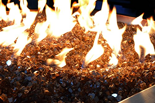 Onlyfire Reflective Fire Glass for Natural or Propane Fire Pit, Fireplace, or Gas Log Sets, 10-Pound, 1/2-Inch, Copper