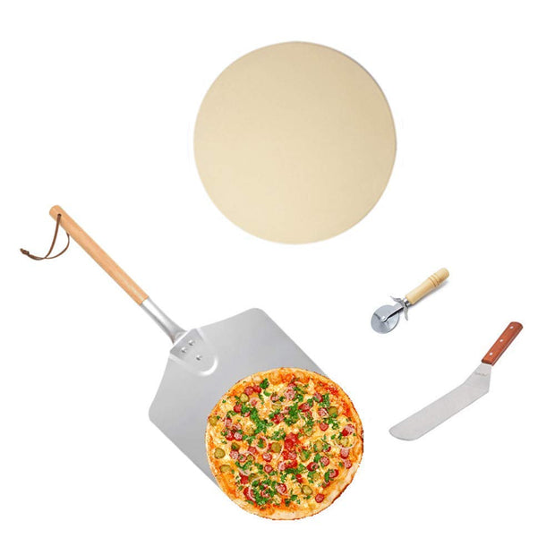 Pizza Tool Kits- Pizza Stone, Pizza Peel with Wooden Handle, Pizza Cutter and Spatulas