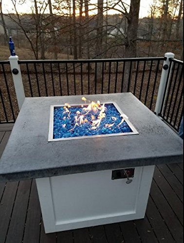 Stainless Steel Drop-in Square Fire Pit Burner Ring and Pan Assembly, 24 Inch