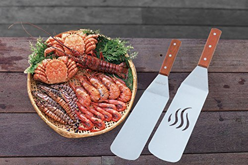 Stainless Steel Scraper Tools with Wood Handle Fits for Griddle, Camp Chef Flat Top Grill and Other