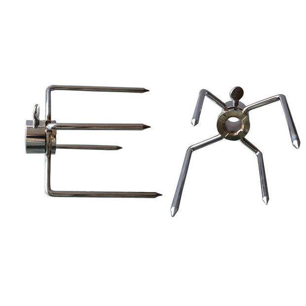 Rotisserie Meat Forks-Fits 1/2-Inch Hexagon & 3/8-Inch and 5/16-Inch Square Spit Rods