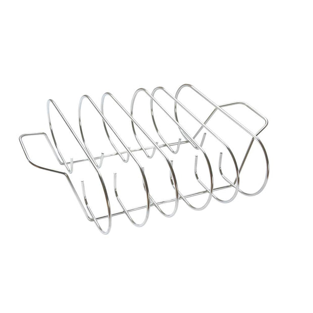 only fire BBQ Rib Rack Non-Stick Stainless Steel Barbecue Roast Rack for Grilling Camping, Picnics, Party, 5 Holds