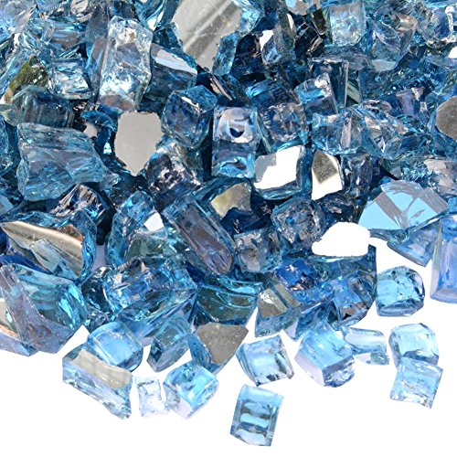 Onlyfire Reflective Fire Glass for Natural or Propane Fire Pit, Fireplace, or Gas Log Sets, 10-Pound, 1/2-Inch, Pacific Blue