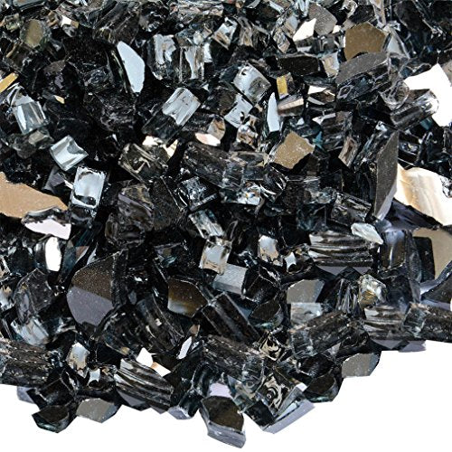 Onlyfire Reflective Fire Glass for Natural or Propane Fire Pit, Fireplace, or Gas Log Sets, 10-Pound, 1/2-Inch, Onyx Black