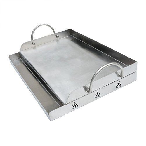 "Stainless Steel Griddle for BBQ Grills with Removable Handles, 18"" W x 12.5"" D x 2.7"" H"