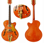 Archtop Jazz Guitar Tangerine stained Flamed Maple - Bracken Guitars