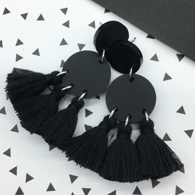 Statement Tassels - Cosmos Pitch Black
