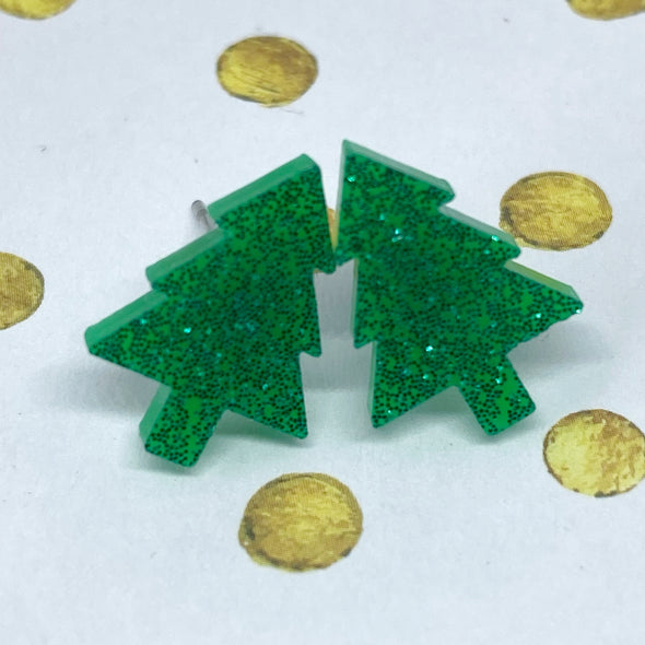 Acrylic Studs - Little Christmas Trees
