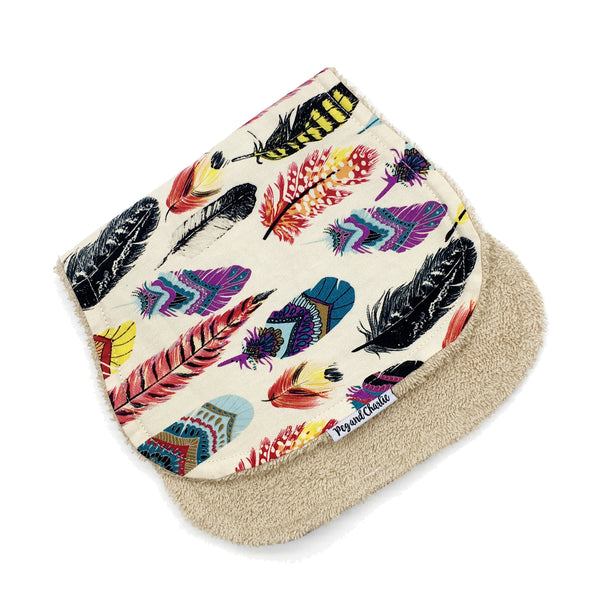 Burp Cloth - Rainbow Feathers