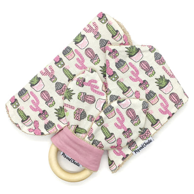 Gift Set - Dribble Bib, Burp Cloth & Teething Ring - Succulent Pots