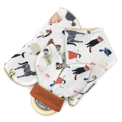 Gift Set - Dribble Bib, Burp Cloth & Teething Ring - To The Zoo
