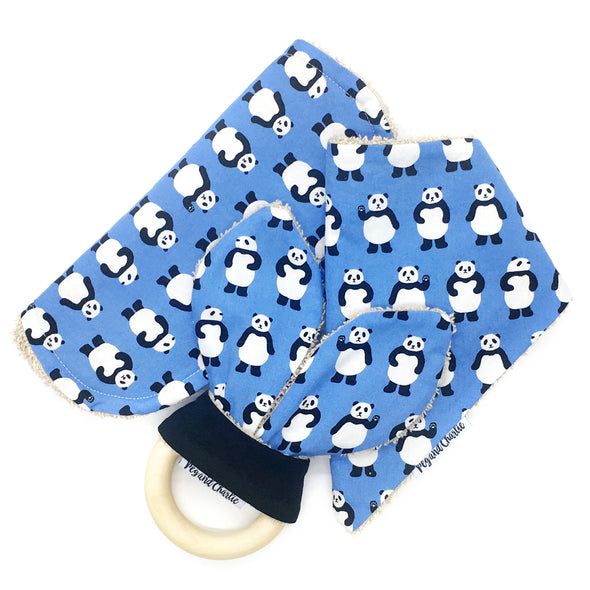 Gift Set - Dribble Bib, Burp Cloth & Teething Ring - Pandas on Blue