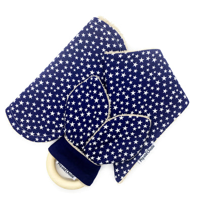 Gift Set - Dribble Bib, Burp Cloth & Teething Ring - Starry Night