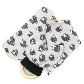 Gift Set - Dribble Bib, Burp Cloth & Teething Ring - Swirl Sheep