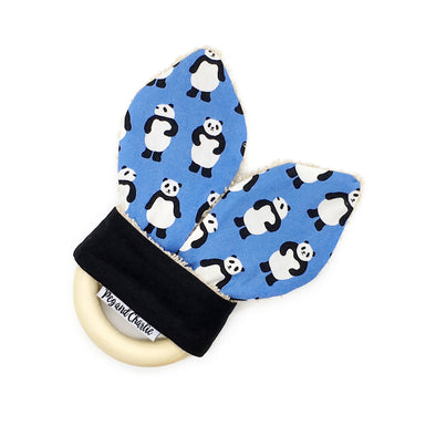 Teething Ring - Pandas on Blue