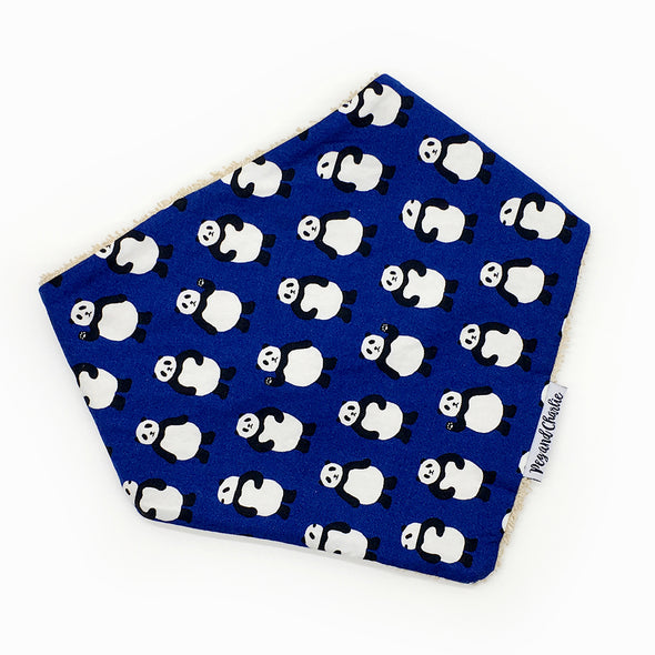 Gift Set - Dribble Bib, Burp Cloth & Teething Ring - Pandas on Navy