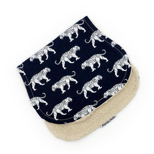 Gift Set - Dribble Bib, Burp Cloth & Teething Ring - White Tiger