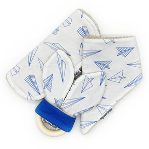Gift Set - Dribble Bib, Burp Cloth & Teething Ring - Paper Aeroplanes