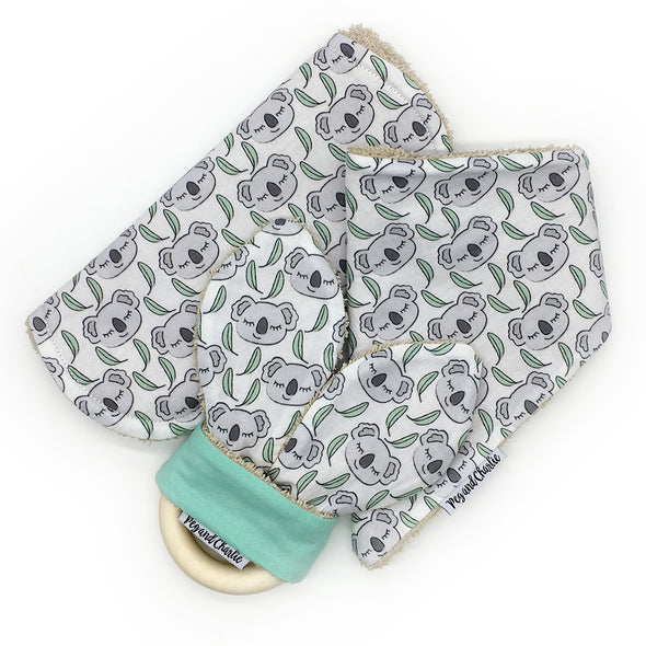 Gift Set - Dribble Bib, Burp Cloth & Teething Ring - Koala