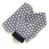 Gift Set - Dribble Bib, Burp Cloth & Teething Ring - Swiss Cross Grey