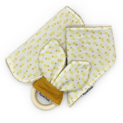 Gift Set - Dribble Bib, Burp Cloth & Teething Ring - Pineapple