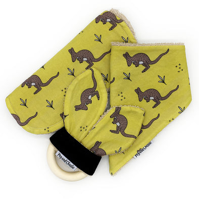 Gift Set - Dribble Bib, Burp Cloth & Teething Ring - Kangaroo