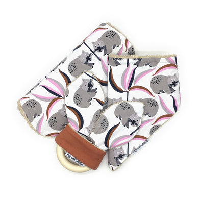 Gift Set - Dribble Bib, Burp Cloth & Teething Ring - Wombat