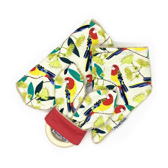 Gift Set - Dribble Bib, Burp Cloth & Teething Ring - Rosella