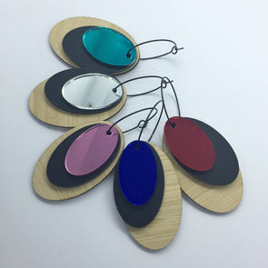 Hoops - Mirror and Bamboo Ovals