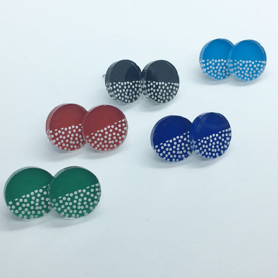 Acrylic Circle Studs - Spotted