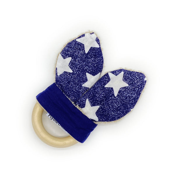 Teething Ring - White Stars Denim