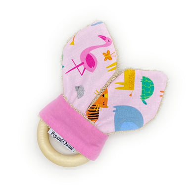 Teething Ring - Jungle Animals Pink