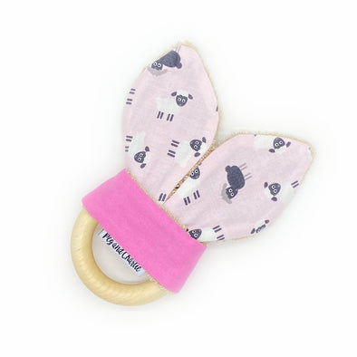 Teething Ring - Tossed Sheep Pink