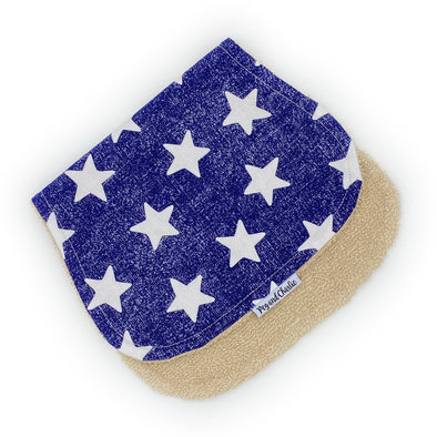 Burp Cloth - White Stars Denim