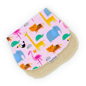Burp Cloth - Jungle Animals Pink
