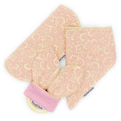 Gift Set - Dribble Bib, Burp Cloth & Teething Ring - Damask Dusty Pink