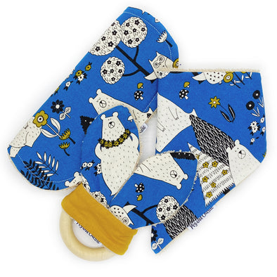 Gift Set - Dribble Bib, Burp Cloth & Teething Ring - Mustard Bears