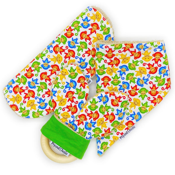 Gift Set - Dribble Bib, Burp Cloth & Teething Ring - Monkeys Rainbow